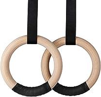 Intey Gymnastiekringen, gymnastiekringen, hout, met verstelbare nylon banden, trainingsringen voor binnen en buiten...