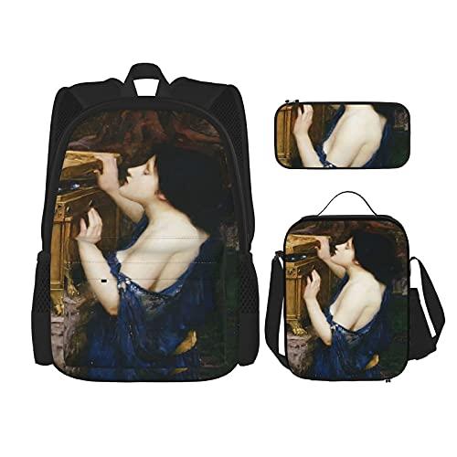 Pandoras Box – Zaino da scuola John William Waterhouse, 3 pezzi, borsa per la scuola + astuccio + borsa per il pranzo con stampa 3D, zaino da viaggio in tela per bambini