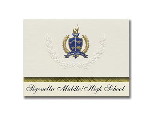Signature Announcements Sigonella Middle/High School (Fpo, AE) Graduierung Ankündigung, Presidential Style, Elite Paket mit 25 Stück mit Gold & Blau Metallic Folie Siegel