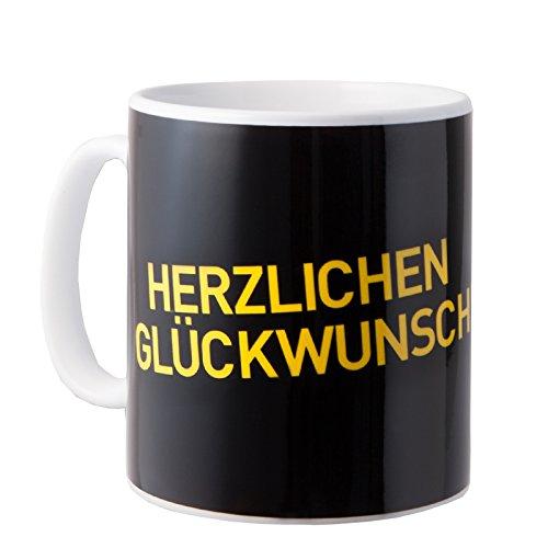 Borussia Dortmund BVB Tasse Herzlichen Glückwunsch, Keramik, Schwarz/Gelb/Weiß, 10 x 10 x 15 cm