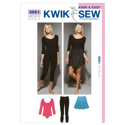 KWIK - SEW PATTERNS K3661 Size Extra-Small - Small - Medium - Large - Extra-Large Leotard, Leggings and Skirt, Pack of 1, White