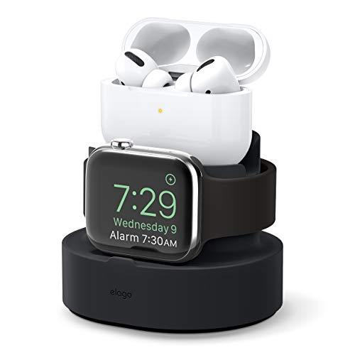 elago Stand 2 in 1 Dock Station Apple Watch e AirPods Pro Supporto Compatibile con Apple AirPods Pro, tutti i modelli iPhone, Tutte Le Serie di Apple Watches Base Caricatore (Cavi Non Inclusi)(Nero)