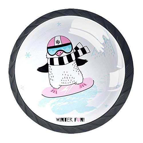 Schubladengriffe Pull Round Crystal Glass für Home Kitchen Dresser Garderobe Pinguin Mädchen Snowboard lustige Tier Charakter