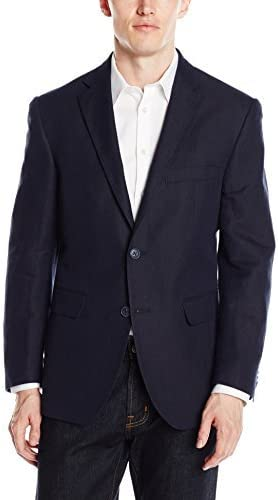 Louis Raphael Men's Slim Fit 2 Button Side Vent Linen Blend Herringbone Blazer