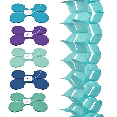QLOUNI 6 Stück Girlande zum Aufhängen, Seidenpapier Hängegirlande Dekoration Set, Party Girlande, vierblättriges Blumengirlande für Abschlussfeier, Geburtstag, Hochzeit Party Dekoration