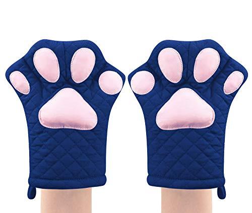 Guanti da forno, design simpatico e divertente gatto, resistenti al calore, guanti da cucina trapuntati in cotone, resistenti al calore(blu)
