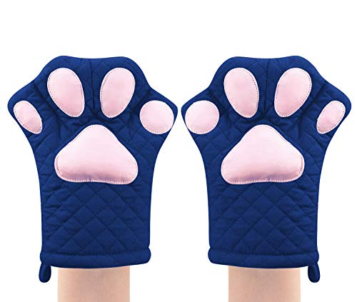 Oven Mitts,Cute Design Funny Cat Heat Resistant Cooking Glove Quilted Cotton Lining- Heat Resistant Pot Holder Gloves for Grilling & Baking Gloves BBQ Oven Gloves Kitchen Tools Gift Set (Blue)