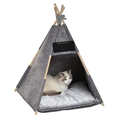 Pawhut Tipi Tienda para Mascotas Tienda de Campaña para Mascotas con Cojín Extraíble Lavable Pizarra de Fieltro Madera para Perros Pequeños Gatos 58x58x80 cm Gris
