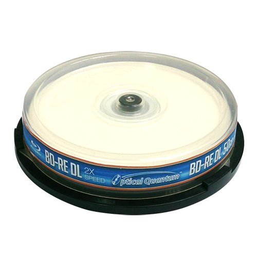 Optical Quantum Blu-ray Disc 10 Pcs Spindle - 50GB Bd-Re DL Rewritable - Inkjet Printable