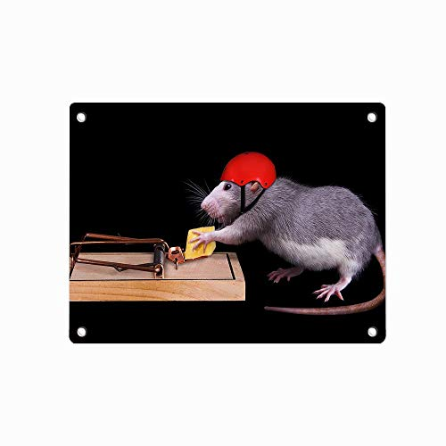 Clever Mouse Helmet Cheese Mousetrap Funny Animals Personalized Metal Tin Sign Pin-up Decor Wall Art Garage Shop Bar Cave