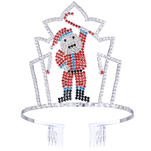 Rhinestone Santa Claus Tiara with Side Combs Christmas Party Crown for Women Girls