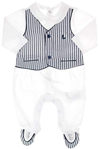 Mayoral Festlicher Jungen Strampler/Baby-Overall Anzug weiß-blau gestreift, Gr. 62 (62)