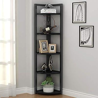 Tribesigns 5 Tier Corner Shelf, Corner Storage Rack Plant Stand Small Bookshelf