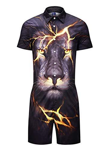 EverNight Zomer Heren Werkkleding Jumpsuit Persoonlijkheid Bliksem Wolf 3D Print Shirt Mode Jeugd Grote Maat Korte Mouw Werkkleding
