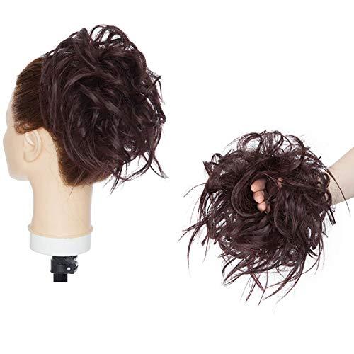 XXL Postiche Cheveux En Caoutchouc Chouchou Chignons VOLUMINEUX Bouclés Ou Chignon Décoiffé Extension a clip Cheveux Naturel Mélange noir Wine Red