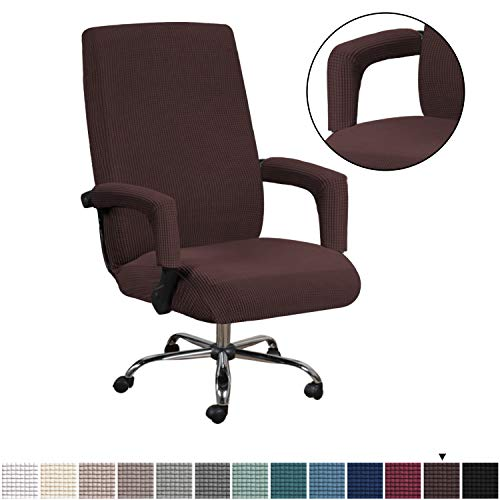 H.VERSAILTEX Durable Soft High Stretch Office Chair Cover Lycra Furniture Protector Bonus with Office Chair Arm Covers Stretchable Removable Computer...