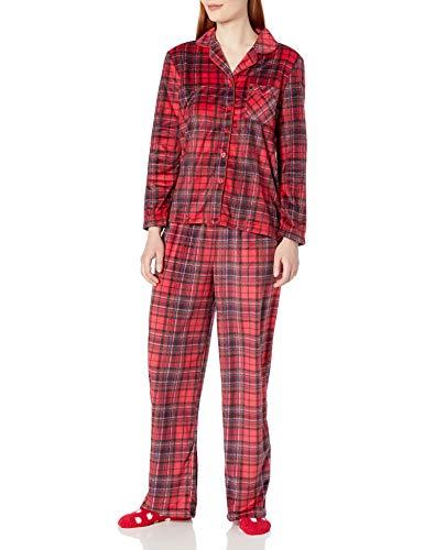 Karen Neuburger Women's Long Sleeve Minky Fleece Pajama Set PJ with Socks, Plaid SKI Patrol, Petite - Large