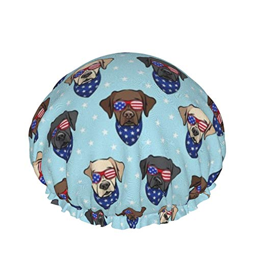 All The Labs Patriotic Labrador amarillo negro chocolate gorro de ducha para mujer reutilizable impermeable sombrero de baño pelo largo y grueso