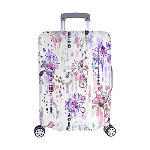 InterestPrint Funny Blue Cornflower Hippy Style Travel Luggage Cover Baggage Suitcase Protector for 22'-25' Luggage