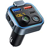UNBREAKcable Bluetooth FM Transmitter for Car, Wireless Bluetooth 5.0 FM Radio Adapter with 2 USB Ports (QC3.0+Type-C PD 20W), Car Kit with Hands-Free Calls, Bass Music Player Support USB Drive