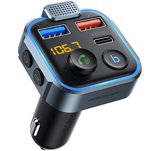 UNBREAKcable Bluetooth Auto Trasmettitore (Pulsante Blu b) Caricabatterie Auto con 2 Porte (QC3.0&TypeC PD 20W) Bluetooth 5.0 FM Auto Supporto Siri/Google/Chiamando/Musica Bluetooth/Disco U