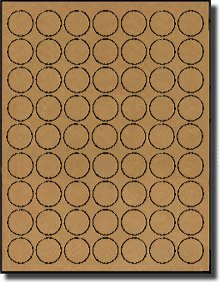 1,260 Label Outfitters 100100-BrnKft-20 1 inch Diameter Brown Kraft Circles, 20 sheets with 63 Labels per Sheet