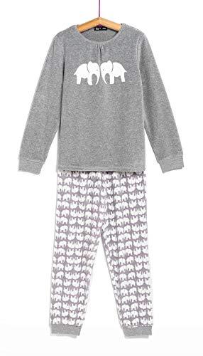 TEX - Pijama Largo para Niña, 2 Piezas, Gris Oscuro, 9 a 10 años