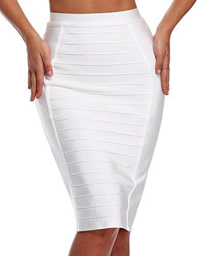 Hego Women's Stripe Wear to Work Bandage Bodycon Midi Skirts H1863 (S, White)