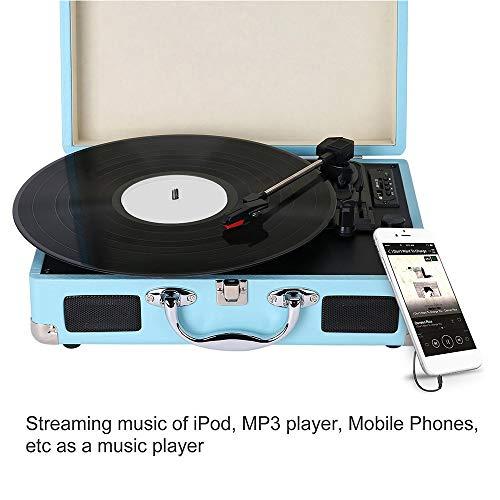 Lepeuxi Tocadiscos portátil Tocadiscos Classic Suitcase Style 3 ...