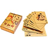 S-TROUBLE Juego de Cartas de póquer de lámina Dorada de Lujo, Naipes Impermeables de PVC, Herramienta clásica para Trucos de Magia, colección de Juegos de Mesa para Fiestas, Regalo