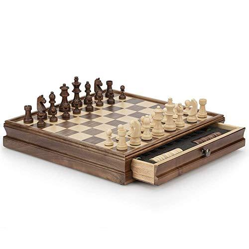 Juego de ajedrez de madera de nogal, juego de tablero de ajedrez de madera, juguete educativo con caja de almacenamiento, juegos de mesa, juego de ajedrez para principiantes para niños, niñas, juego