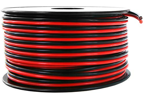 GS Power 18 AWG (American Wire Gauge) 100 FT Red & 100 FT Black Bonded Stranded OFC Zip Cord 12V Low Voltage Automotive Cable for Car Amplifier Trailer Harness Hookup Wiring – Pure Copper