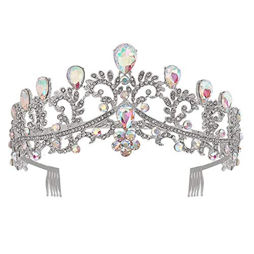 lijun Color Crown Rhinestone Tiaras for Costume Party Hair Accessories with Gemstone