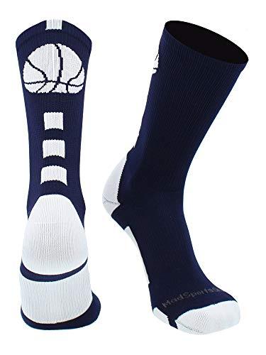 MadSportsStuff Basketball Logo Athletic Crew Socks, Medium - Navy/White