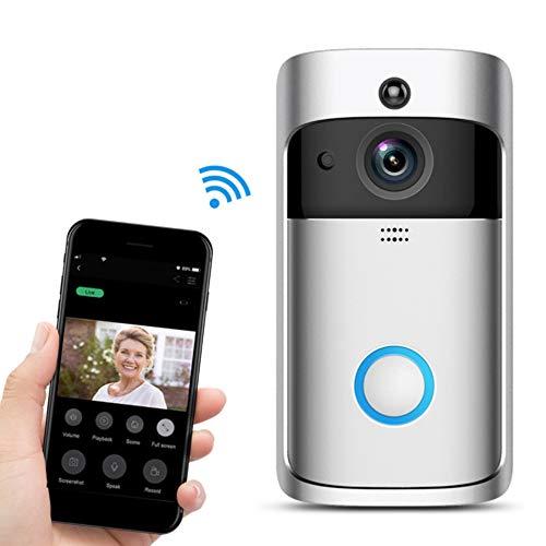 KOBWA Campanello Videocitofono, Intelligente WiFi Wireless Videocamera 720p Wi-Fi Campanello Sensore di Movimento Audio Bidirezionale e Visione Notturna Antifurto App per iOS, Android, Windows