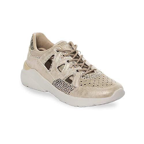 Zapatilla Sneaker Yumas Natacha BEIG Fabricado en Nylon Perforado y Microfibra Plantilla Confort Latex para Mujer