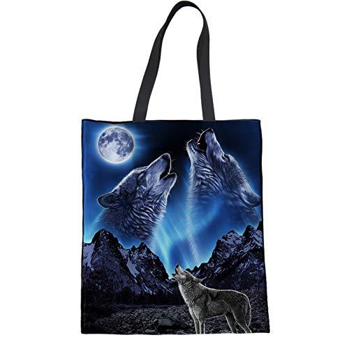 HUGS IDEA Howling Wolf Aurora Polaris Printed Cute Canvas Tote Bag Shopping Handbag Eco-Friendly Reusable Grocery Bags
