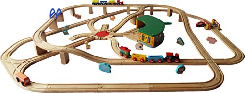 Burnside Toys Animal Express Large Wooden Train Set - compatible with other wooden train track brands including BRIO and Bigjigs