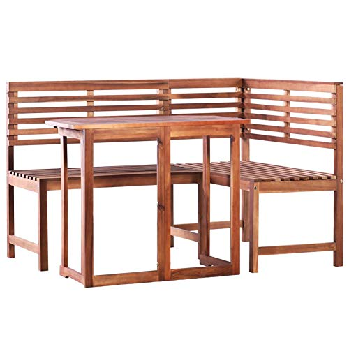 Bistro Set, Garden Table and Chairs, Bar Set, Bistro Furniture Set for Indoor or Outdoor Use with 1 Chairs, Solid Acacia Wood, Brown