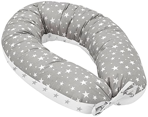 Jukki® Cojín de lactancia, cojín para dormir de lado, cojín de embarazo XXL, cojín de 170 cm para madre y bebé, cojín de posicionamiento, con funda hecha de algodón 100 %