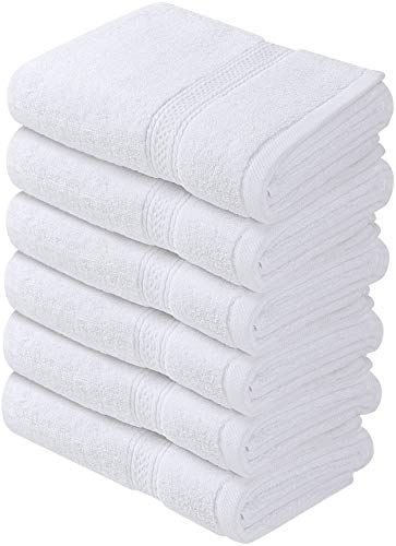Utopia Handdoeken - Premium Handdoeken - 100% Gecombineerde Ring Gesponnen Katoen, Ultra Zacht en Zeer Absorberend, 600 GSM Exrta Grote Dikke Handdoeken 41 x 71 cm, Hotel & Spa Kwaliteitshanddoeken (6-Pack) (Wit)