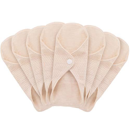 MQUPIN Serviettes Hygiéniques Réutilisables Lavables, 8 pcs Tampons Doublure Serviette Hygienique Lavable en Coton Biologique, Serviettes Hygieniques Bio Anti-fuite Convient pour Toutes Les Femmes