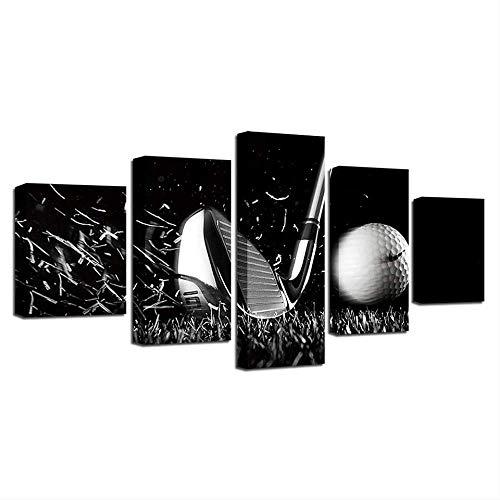 HY.Bohu Wanddekoration Modulare Leinwand Rahmen Dekor Wohnzimmer 5 Stücke Golfball Schwarz Und Weiß Malerei Hause Moderne HD Druckplakat Bilder Wandkunst