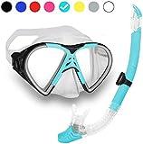 Schnorchelset mit Taucherbrille und Dry Schnorchel für Erwachsene - Schwarze Tauchmaske mit Snorkel...