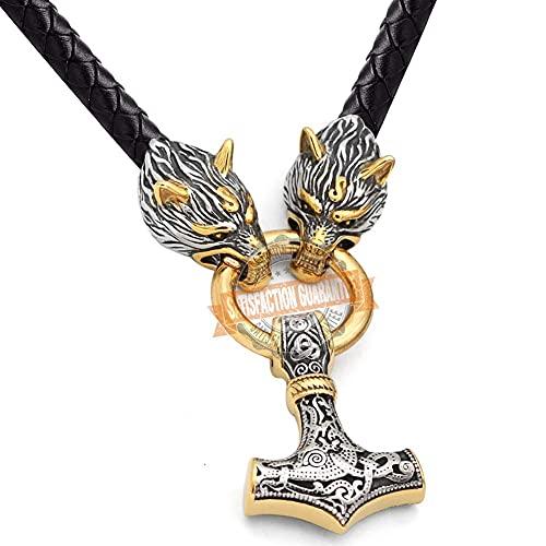 AMOZ Collar Vintage 3D con Cabeza de Lobo para Hombre, Colgante de Martillo de Thor, Collar Vikingo Mjolnir, Cordón de Cuero Vintage, Amuleto Nórdico, Símbolo Celta Pagano, Martillo de Plata, 60 cm 2