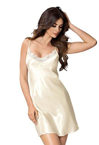 Selente Elegante Satin-Nachthemd (Made in EU) mit exklusiver Augenbinde, Nachthemd 4 Ecru, Gr. 40 (L)