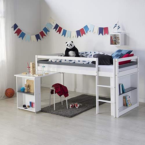 *Homestyle4u 1880, Kinder Hochbett mit Schreibtisch, Kinderbett 90×200 Weiß, Holz Kiefer*