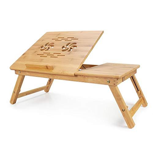 Todeco - Tavolino Portatile Per Notebook, Vassoio Pieghevole - Materiale: Bambù - Dimensione tavolo: 55,1 x 35,1 cm - Scrivania regolabile con ampia ventilazione