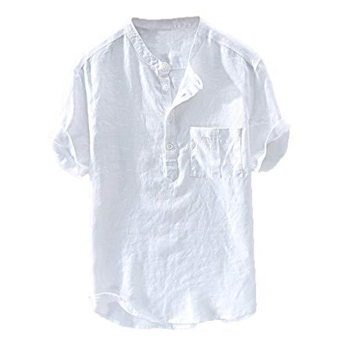 Camisetas Hombre Manga Corta Color Puro Algodón de Cáñamo Botón Bl