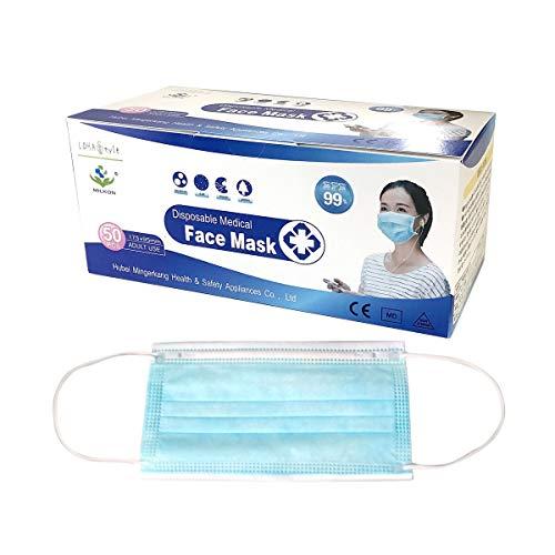医療用マスク 50枚 メディカル ASTM-F2100 BFE 99% PFE97.6% 通気性 高性能 不織布 3層 メルトブロー製法 使い捨て 青白色 レギュラー 男女兼用 大人 立体 耳が痛くない低圧楕円ゴム (50枚)